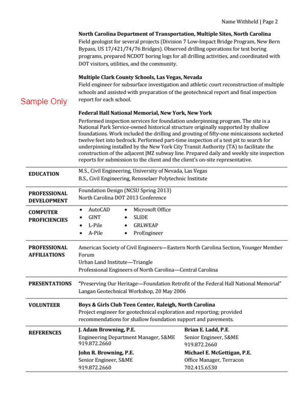 traditional resume page 2 - Bridge Engineer Sample Resume