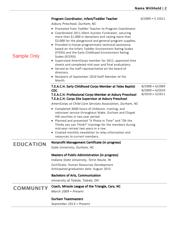 sample resume renovations